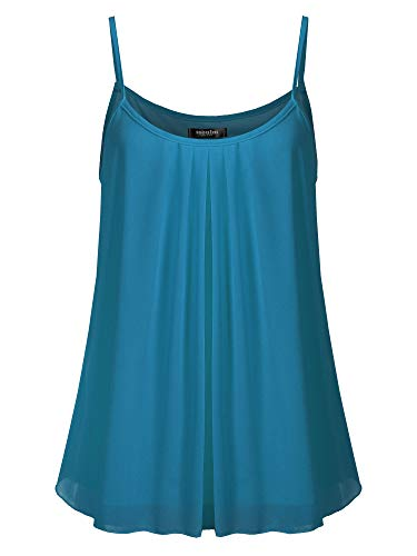 SSOULM Women's Pleated Chiffon Layered Cami Cool Short Tank Tunic Top Teal 1XL