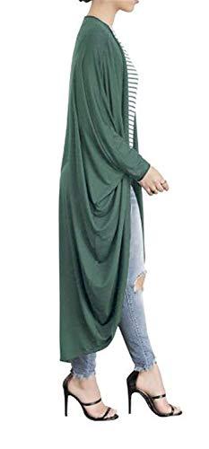 Pipistrello Baggy Giubotto Elegante Libero A Giacca Monocromo Cappotto Confortevole Irregular Autunno Cappotti Verde Casuale Manica Battercake Donna Lunga Tempo Maglia Donne faH48wExq
