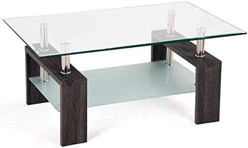 Amazon.com: Mesa de café de cristal Casart estilo moderno ...