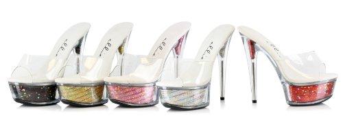 Ellie Chaussures 6 Pouces Stilletto Glitter Avec Étoile A Frappé La Plate-forme Argent