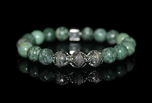 (Men's Jade Bracelet, Qinghai Green Jade and Sterling Silver Bracelet, Men's Designer Bracelet)