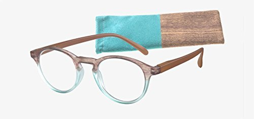 ICU Eyewear Laredo Round with Wood Patterned Temples Aqua/Brown - Recycled Reading