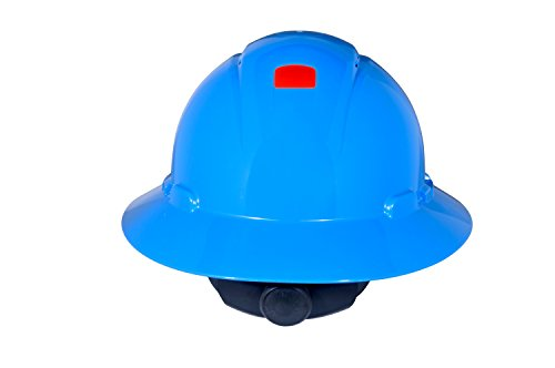 Light Blue Hard Hat (3M Full Brim Hard Hat H-803V-UV, 4-Point Ratchet Suspension, Vented and Uvicator,)