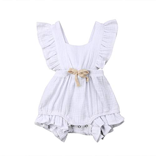 Kstare Baby Vest Romper Summer Cotton Romper Overalls One Piece Outfits for Infant Toddler Baby Clothes Jumper White]()