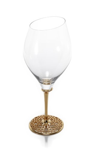 Arabesque Red Wine - Luxury Red Wine Glass, Merdinger Design, 18K Real Gold and Titanium Plating, Metal and Glass Fusion Composition, Elegant Red Wine Glass With Arabesque Decorations Of Merdinger Quality and Unique Class