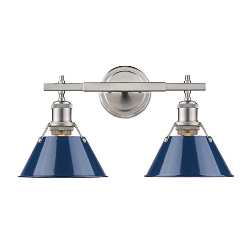 Beaumont Lane 2 Light Bath Vanity Light in Pewter with Navy Blue Shade