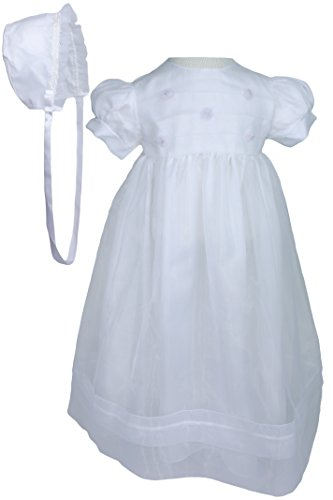 Christening Day Girls' White Organza Overlay Gown with Sheer Flowers 18M
