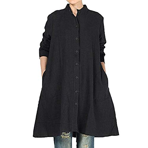 Vrac Haut Bringbring Femme Chic Tops Robe Unie Longue Noir Manches en Blouse Chemisier Couleur fxTxZz