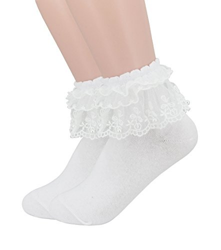 (YJLSO Women Lace Ruffle Frilly Cotton Socks Princess Socks Ankle Socks,2 pairs (B--White),One Size)