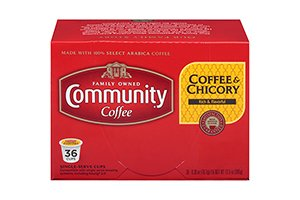Community Coffee Coffee & Chicory 36ct Single Serve Coffee Pods, Compatible with Keurig K Cup brewers, Medium Dark Roast