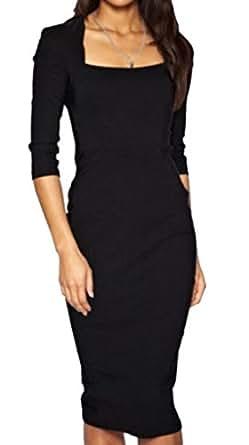 Generic Women's Square Neck Slim Dress Career Black XS