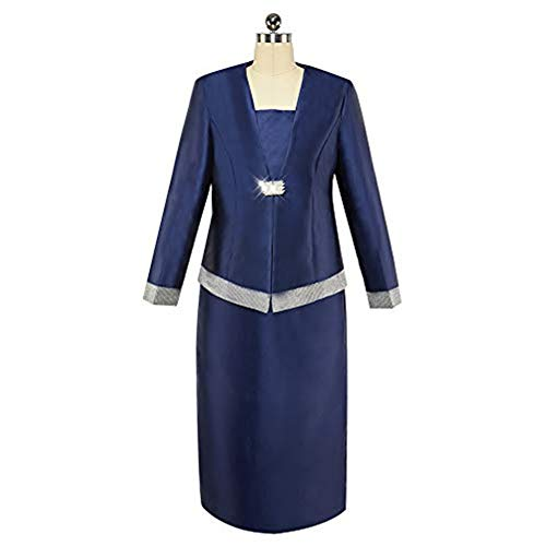 KUEENI Women Church Suits with Hats Church Dress Suit for Ladies Formal Clothes White (Navy Blue Suit, 20)