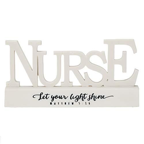 Dicksons Nurse Matthew 5:16 Word on Pedestal White 3.5 x 6.5 Resin Stone Table Top Sign Plaque