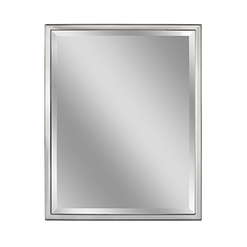 - Head West 24 x 30 Classic Chrome 1 in. Wide Metal Frame Wall Mirror,