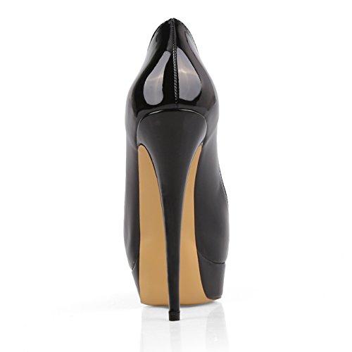 Ponerse Bombas Beige Chris Mujeres Stiletto Peep de de Negro Altos Plataforma Sexy Toe Zapatos Boda Suela T Tacones Vestir zgUwqgAxt
