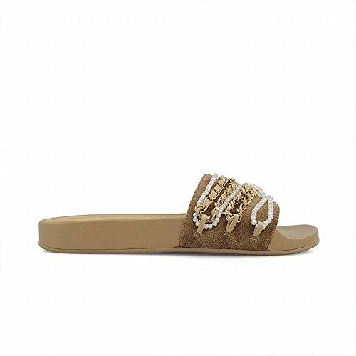 38 Albicocca spesse pantofole fondo piatto DHG che di parola Catena di porta di perle 7xawRfOPq