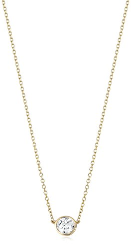 1/3 Carat Certified Diamond Bezel Necklace with Adjustable Length, 14k Yellow Gold (K-L Color, I2-I3 Clarity)