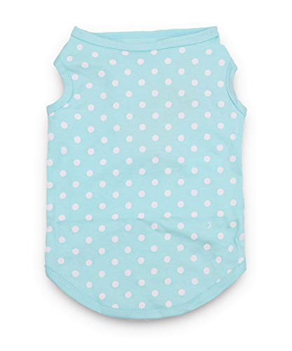 MeowWow Dog Cotton Shirts Puppy Vest Polka Dots Clothes for Small Dogs, Pack of 2