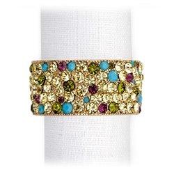 L'Objet Multi Color Swarovski Crystals Napkin Rings, Gold Plated Band Set/4