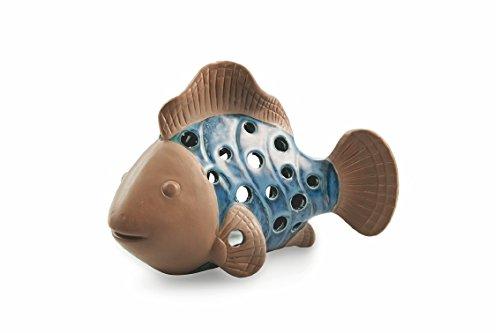 Villa d 'Este Home Tivoli Sea Clown Fish Tealight Holder, Ceramic, Blue/Brown, 20x 10x ()