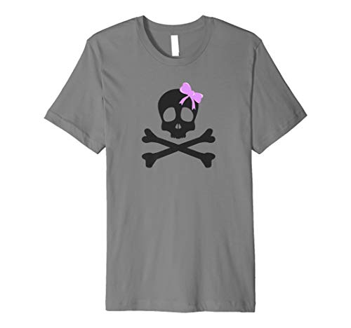 Pastel Goth Shirts For Women, Skull & Purple Bow Designs Premium T-Shirt