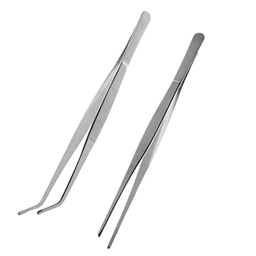 VORCOOL Stainless Steel Straight and Curved Nippers Tweezers Feeding Tongs for Reptile Snakes Lizards Spider 2 Pcs Silver