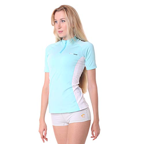 Coreskin Women Rash Guard Short Sleeve Lycra Shirt UPF50+ Quick Dry 4 Way Stretch Water Repellent for Snorkeling Diving Surfing ()