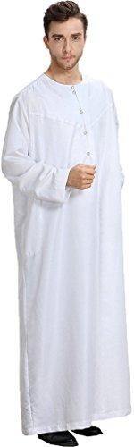 Ababalaya Men's Round Neck Long Sleeve Solid Saudi Arab Thobe Islamic Muslim Dubai Robe,White,XL by Ababalaya (Image #3)