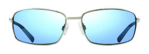 (Revo Men's Polarized Sunglasses Tate Soft Rectangle Frame 61 mm Rectangular, Chrome, Blue Water)
