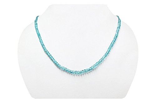 Natural Blue Apatite Rondelle Faceted Beads Necklace Strand with 925 Silver findings (Set Necklace Apatite)