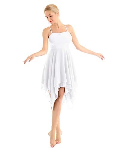 YiZYiF Women Lyrical Dance Dress Spaghetti Strap High Low Mesh Maxi Skirt Ballet Dancewear White Medium