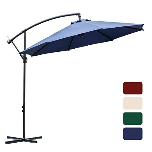 FARLAND 10 ft Offset Cantilever Patio Umbrella Outdoor Market Hanging Umbrellas & cranks, 8 Ribs (Dark Blue)