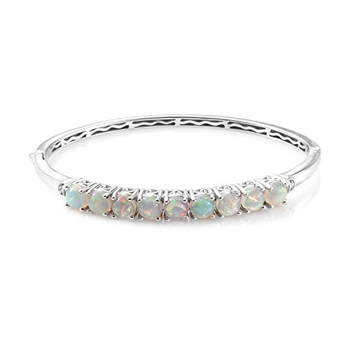 925 Sterling Silver Platinum Plated Welo Opal Zircon Bangle for Women 7.25