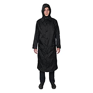 Fit Rite Men's Nylon lightweight Waterproof Raincoat - Zip in Hood,XX-Large,Black