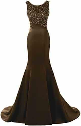 5376f68056ccc SOLOVEDRESS Women's Long Mermaid Prom Dress Beaded Evening Gowns Wedding  Dress Bridesmaid