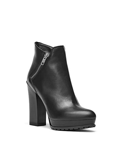 Emma Heel Schuhe Black Block Black Leather Smooth Boots High Damen Ankle Heel PoiLei YHq4w4