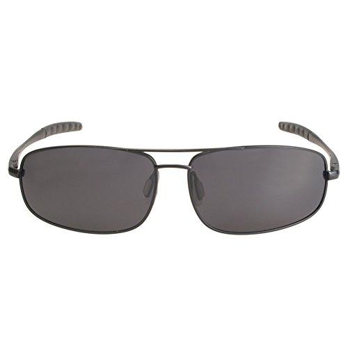 ZHILE 8-base Curve Wrap Double Bridge Metal Frame Polarized Sunglasses for Men (Black frame, - Wrap Metal Sunglasses