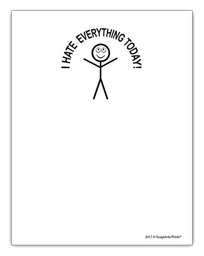 I Hate Everything Today, Funny Notepad Introvert Gift Idea 4.25 x 5.5, 50 (Dollar Notepad)