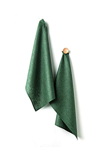 Solino Home Linen Kitchen Towel - 100% Pure Linen 17 x 26 Inch Set of 2 - Natural Fabric Handcrafted, Forest Green