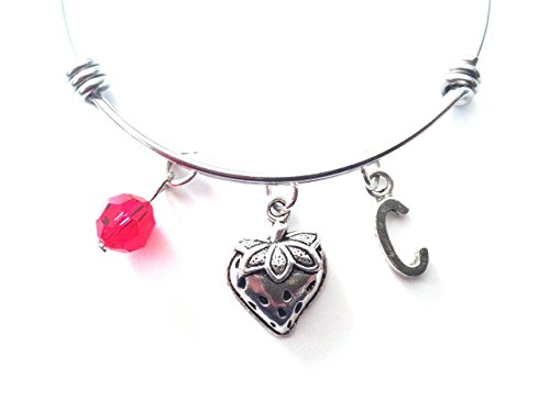 Strawberry Shortcake Charm Bracelets - Strawberry themed personalized bangle bracelet. Antique silver charms and a genuine Swarovski birthstone colored element.