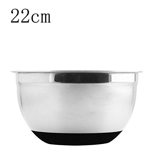 m·kvfa Stainless Steel Mixing Bowl Non-slip Silicone Bottom Egg Basin 4 Sizes Multifunction Kitchen Must Container Salad Bowl (22cm)