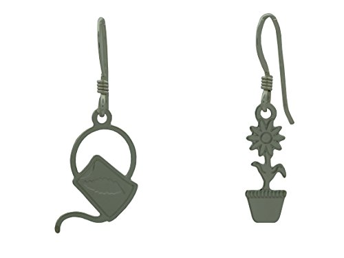 Miniature Flower Pot and Watering Can Gardener Dangle Earrings Made in USA - Gift Boxed Goose Watering Can