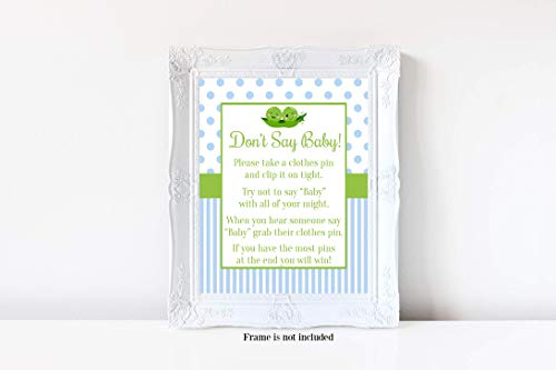 (Two Peas in a Pod Don't Say Baby, Two Peas in a Pod Baby Shower, Boy Baby Shower, Don't Say Baby Game, Baby Shower Games, 8x10 Glossy)