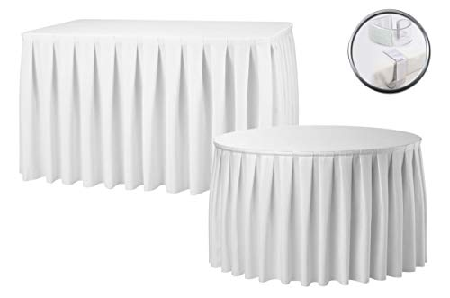 (Accordion Pleat White Table Skirt Free Clips Polyester Wedding Christmas Party Catering Hotel Decoration 14FT 17FT 21FT (17FT))