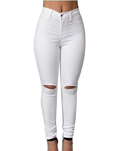 La Rodilla Leggings Mujer Cintura Jeans En Skinny Pantalones Alta Vaqueros Blanco Elástico Rotos w11aXIq