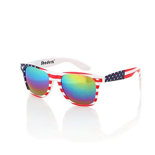 American USA Flag Retro 80's Sunglasses Classic America Patriotic Classic Sunglasses Eyewear by Shaderz Multi - Flag Sunglasses American