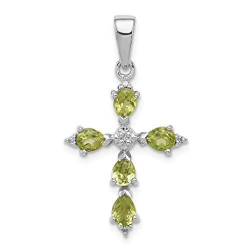 925 Sterling Silver Pear Green Peridot Cross Religious Pendant Charm Necklace Gemstone Fine Jewelry For Women Gift Set