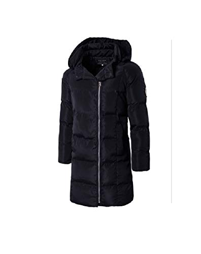 Mid Hooded Black EnergyMen Solid Jacket Parka Length Thickening Cotton BpPfqwt