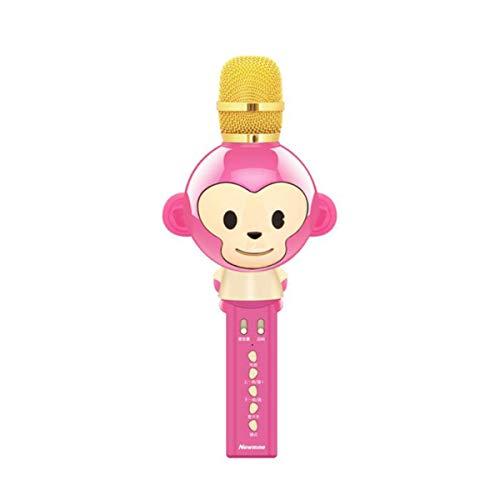 Karaoke, Mobile Phone Microphone, Cartoon Wireless Bluetooth Microphone, Built-in Sound Card, Speaker Audio, Pink (Color : Pink) ()