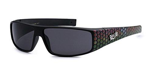 LOCS Original Gangsta Shades Hardcore Men's Flat Top Rectangular Sunglasses - Cannabis Leaf - Locs Original